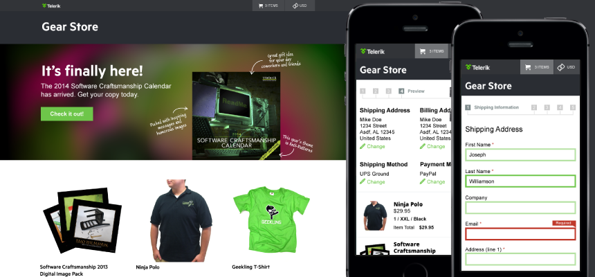 Telerik Gear Store Showcase